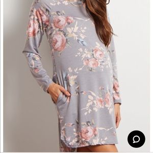 Maternity Grey floral sweater dress